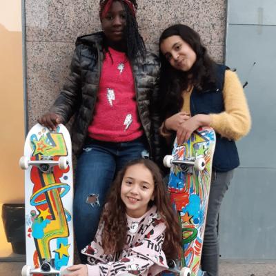 Skateboard charity team building
